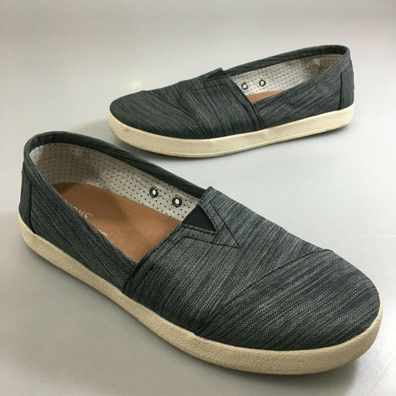Toms Womens 8.5 Charcoal Gray Canvas Slip-On Shoes Flats
