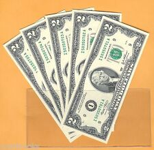 5 2003 Uncirculated Consecutive Serial Number Two Dollar Bills $2 Notes Bep I