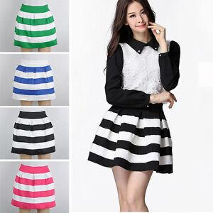 Fashion Womens Girls Mini Dress Retro Flared Black and white ...