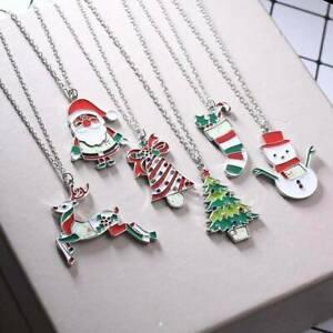 Enamel-Christmas-Tree-Santa-Claus-Snowman-Pendant-Necklace-Women-Xmas-Jewelry