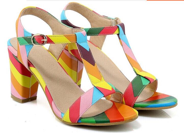 Sandalias de mujer Ptacco cuadrado colorido elegantes talón 7.5 cm cómodo 9313