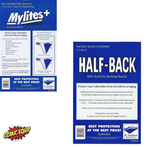 STANDARD Mylar Bags /& Half Back Boards COMBO 725M+//700HB E.Gerber 100 Mylites