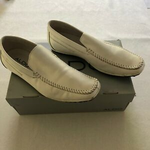 aldo white leather dress casual slip on loafers shoes men