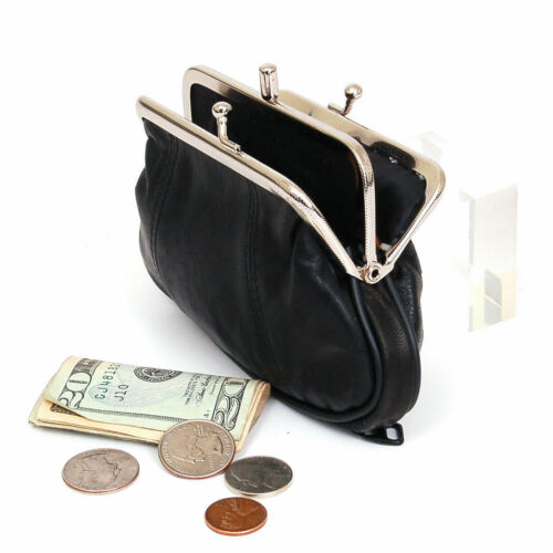 Black Genuine Leather Women Coin Purse Change Holder Kiss Lock Large