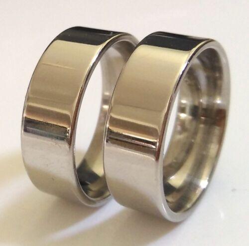 50x Comfort-Fit 8 mm Simple Plain Band Anneaux Haute polonais en acier inoxydable bijoux