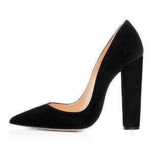 Onlymaker-Ladies-Suede-Pointed-Toe-Block-Chunky-Classic-High-Heels-Shoes-Pumps