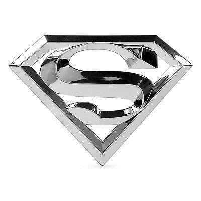 "Superman Shield 7/"" x 5/"" Oversized Chrome Auto Emblem"