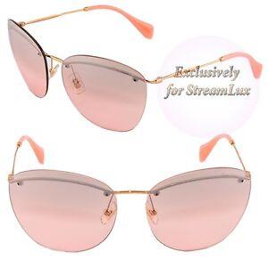d4cc91b1f8cfa Miu miu Óculos De Sol Feminino Cat Eye Smu 54P 7OE-3B0 Dourado ...