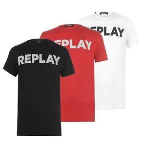 Hommes-Replay-Logo-Coton-Leger-Cotele-elegant-T-Shirt-Tailles-S-a-XXXL