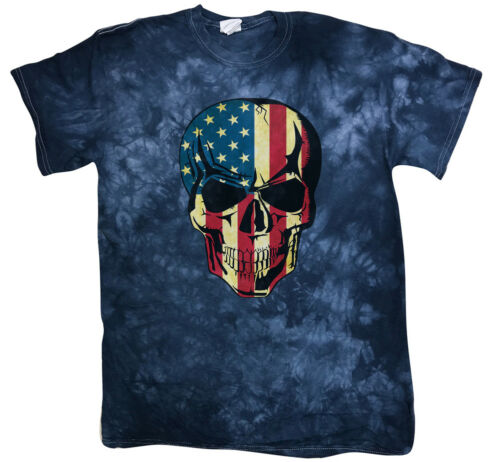 Men/'s Tie Dye T-shirt American US Flag Skull Decal Tee Unique Gifts for Men