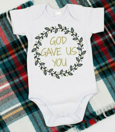 God Gave Us You Religious Baby Announcement Design on a Gerber Onesie or Tshirt