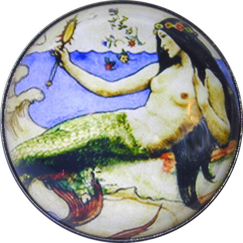 """Crystal Dome Mermaid Button M 06 FREE US SHIPPING 1 /& 3//8/"""" Large Size"""