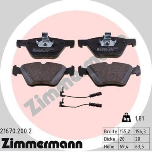Zimmermann pastillas de freno guarnición frase zapatas delante 21670.200.2