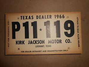 NOS Plymouth Dodge TEXAS Dealer Temporary Plate 1966 Kirk