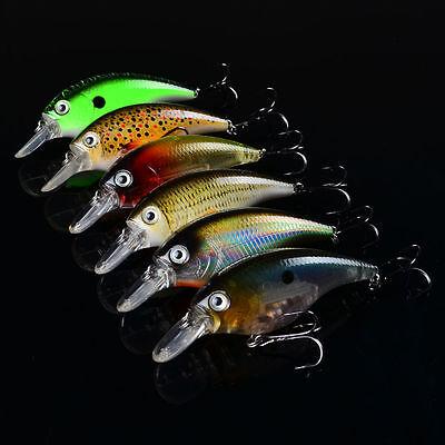 6pcs Lot Fishing lures Wobbler Crank Bait 8.2cm//4.5g Crankbait 8# Hooks Tackle