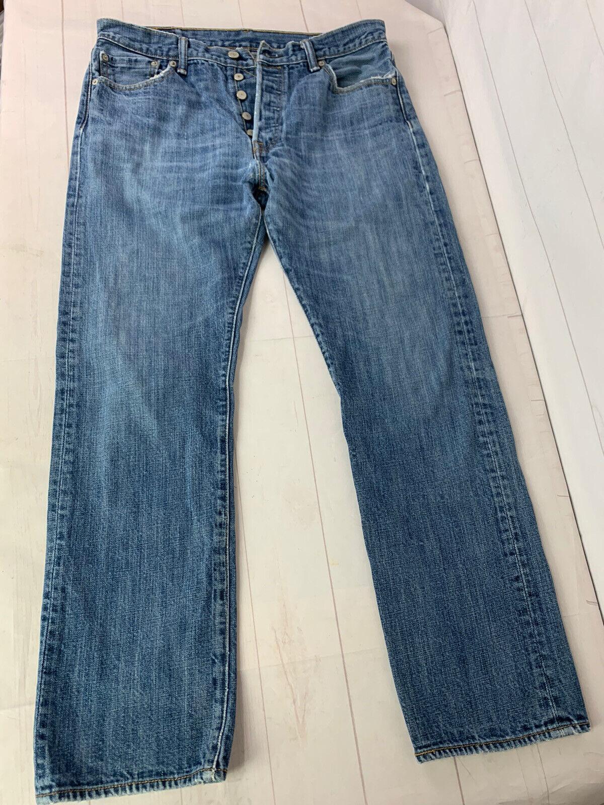 Jeans LEVIS 501 Label Size 34x32 Distressed Blue … - image 7