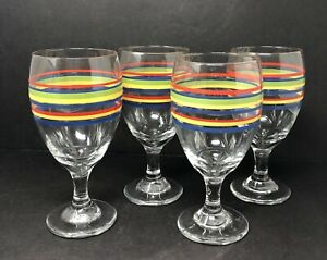 Set-of-4-Libbey-Mambo-Fiesta-Wine-Water-Stemmed-Glasses-Goblets-w-Stripes