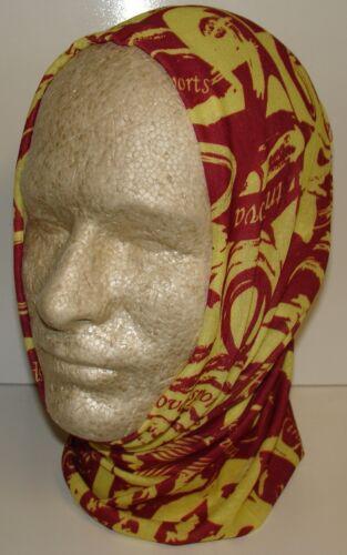 Maroon Yellow Sports Tubular Multi Function Headwear Scarf Balaclava Cap Beanie
