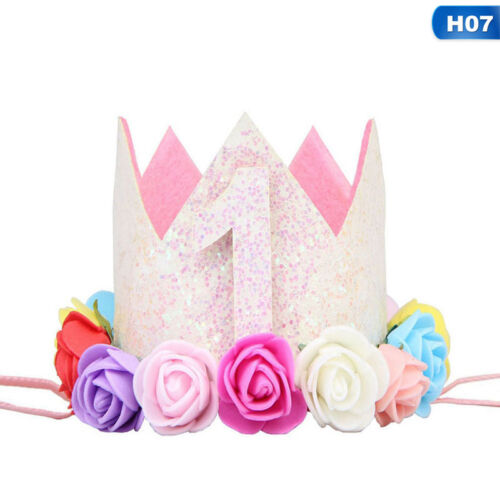 Baby Girls First 1st Birthday Party Hat Crown Headband Or Unicorn Cake Topper.