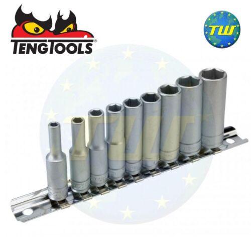 "Teng 10pc 1//4/"" Deep Socket Metric Clip Rail Set 4 5 6 7 8 9 10 12 /& 13mm M1407"