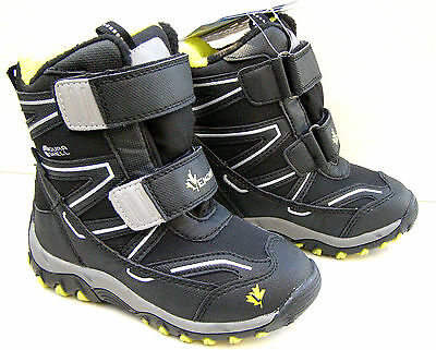 NEW BOYS WATERPROOF SKI WINTER SNOW FLEECE WARM BOOTS BLACK SCHOOL SHOES SIZE 10