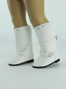 """WHITE Buckles /& Rhinestones DOLL BOOTS SHOES fits 18/"""" AMERICAN GIRL Doll Clothes"""