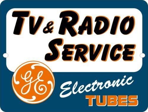 RETRO GE General Electric TV Radio Repair Service Vacum Tubes Sign 9x12
