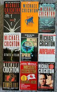 MICHAEL CRICHTON THRILLER SCI FI PAPERBACK 9 BOOK LOT MICRO NEXT SPHERE TIMELINE