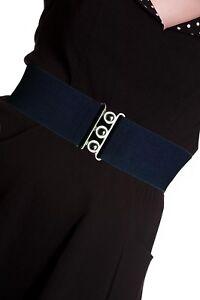 HELL-BUNNY-Retro-50s-Waist-BELT-Rockabilly-Elasticated-Navy-Blue-All-Sizes