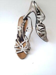 Nina-Shoes-Silver-Glitter-Strappy-Open-Toe-Slingback-3-1-2-034-Stiletto-039-s-size-9-M