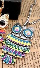 Art Deco,vintage, emo, big wise old owl charm necklace