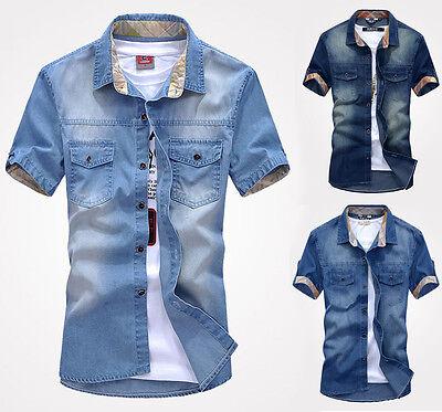 A_D75 New Men's Jeans Short Sleeve Casual Slim Stylish Wash-Vintage Denim Shirts