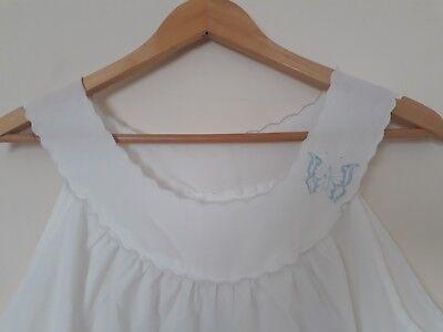 Ben Informato Vintage 60s Fatti A Mano Bianco Camicia Da Notte Bum Taglia 12-
