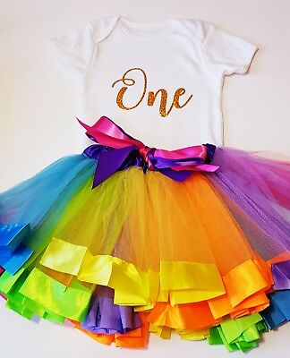 baby girl first 1st birthday outfit rainbow tutu hat cake smash photo shoot prop