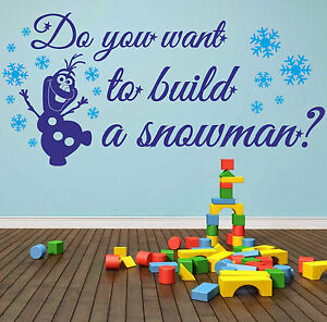 Do You Want To Build A Snowman Wall Sticker Quote Frozen Kids - How do u put up a wall sticker