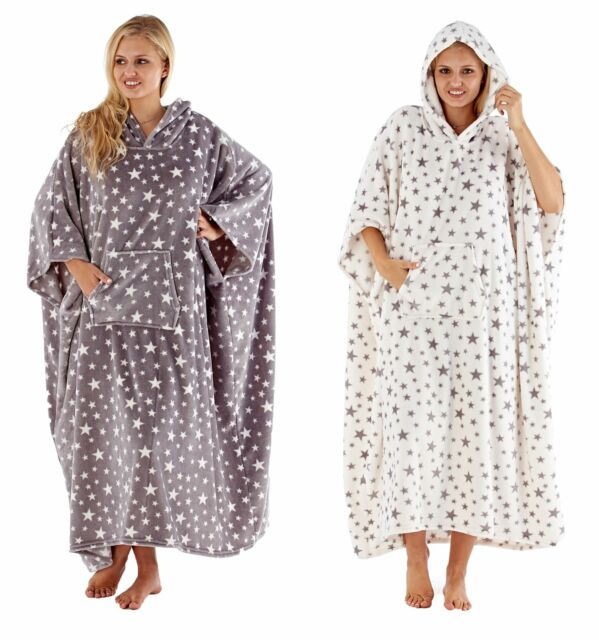 One Size Grey with Pink Spot Ladies Soft Luxury Fleece Hooded Lounger Poncho
