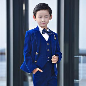 c5b5fa2f3 Royal Blue Children's Suits Velvet Boy Wedding Suit Slim Kids Prom 3 ...