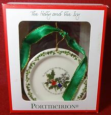 PORTMEIRION china THE HOLLY & THE IVY pattern Plate Christmas Ornament