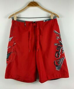 Quiksilver-Mens-Board-Shorts-Aussie-Swim-Shorts-Size-30-Red
