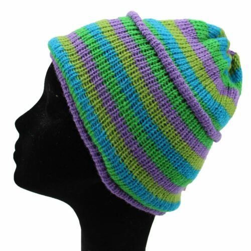 WOOL KNIT HAT FLEECE LINED HIPPY FESTIVAL BEANIE LILAC GREEN STRIPES