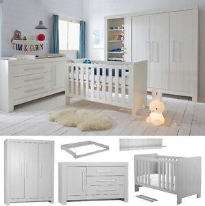 babyzimmer kinderzimmer komplett cannes set c 6 tlg schrank 3t kommode wei grau ebay. Black Bedroom Furniture Sets. Home Design Ideas