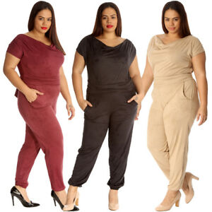 276d04c306 New Womens Jumpsuit Plus Size Ladies All in One Suede Cowl Neck Full ...