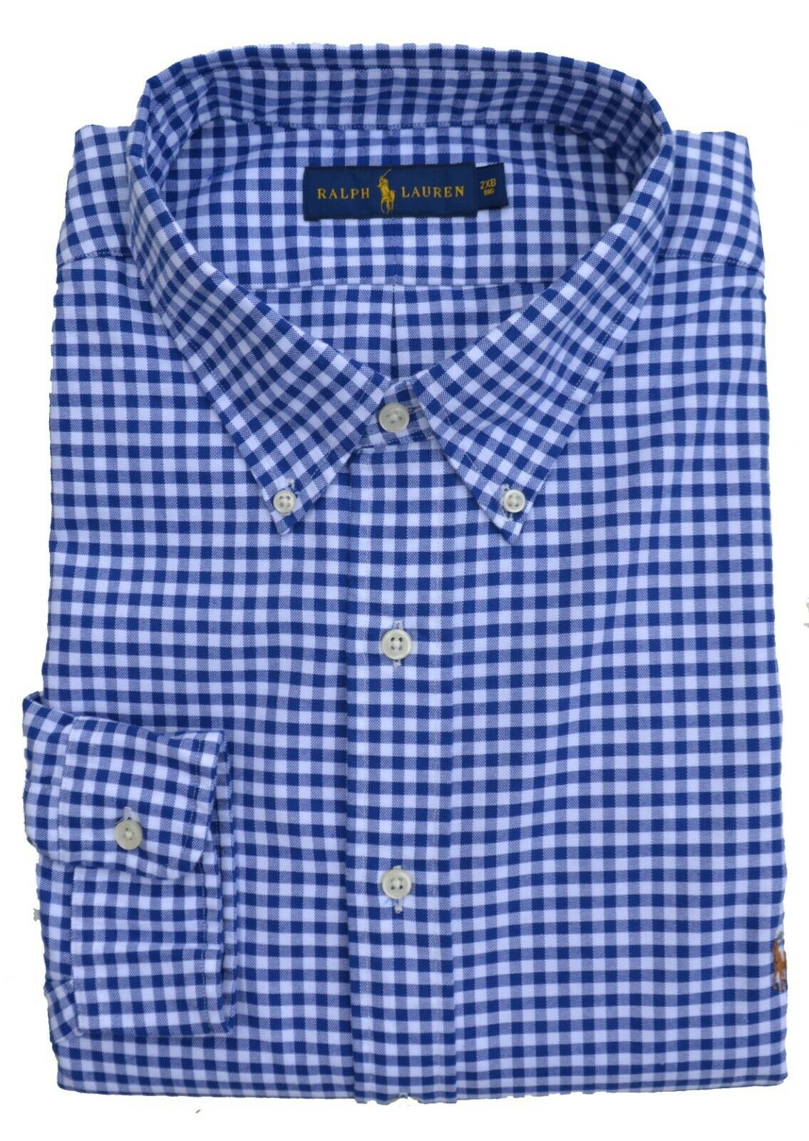 Ralph Lauren Big & Tall - Shirt Button down bluee White Plaid - 2xb 3xb 5xb - New
