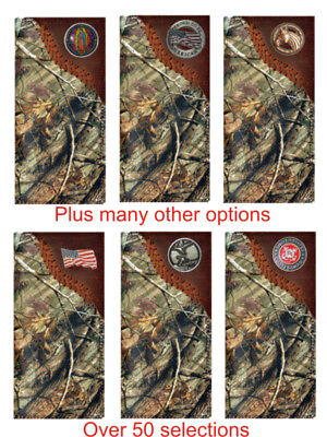 Custom Ornate Pewter Flower American Flag Long Wallet with Distressed United States Flag