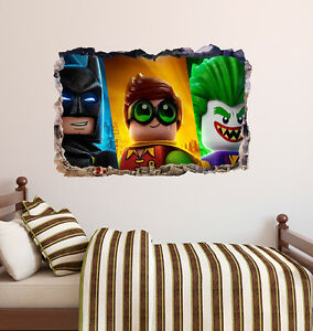 Lego Batman Group Brick Wall Decal Smashed 3D Sticker Art Vinyl AH378