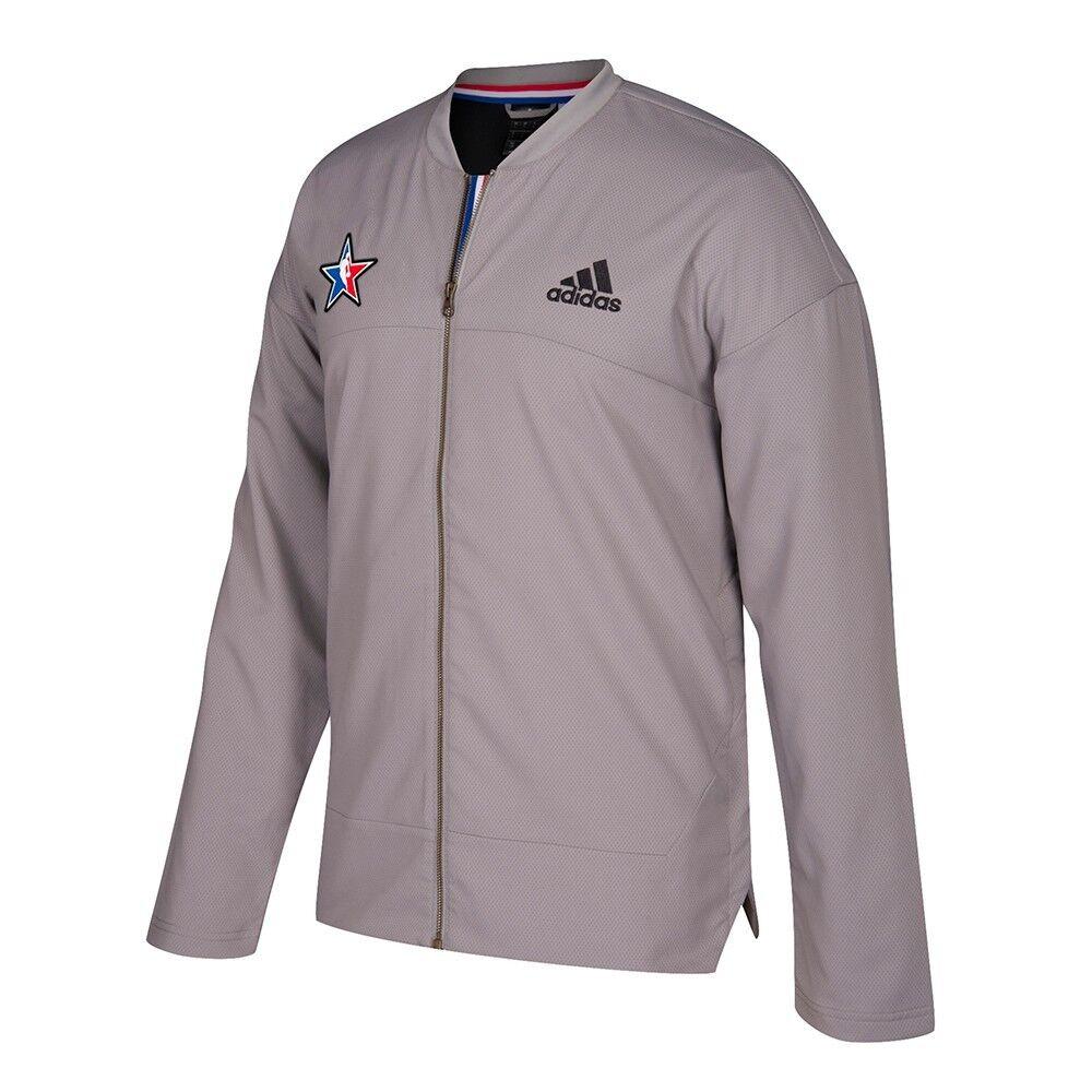 Adidas 2017 NBA All Star Offizielle, authentische On-Court-Jacke mit durchgehendem Reißverschluss und grauer Jacke