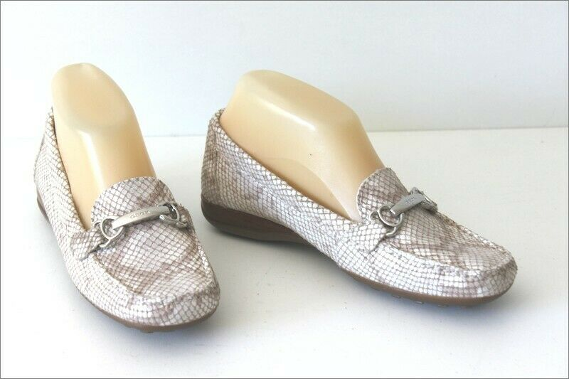 Geox Loafers Soft Leather Pearlescent White T 36, Vgc ,