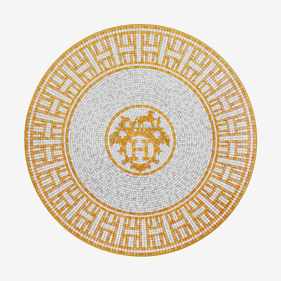 HERMES MOSAIQUE AU 24 Gold PAIR PAIR PAIR OF DESSERT PLATES  P026007P BRAND NIB F SH e5267d