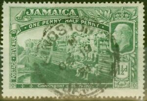 Jamaica 1919 1 1/2d Green SG80a Major Re-Entry Good Used