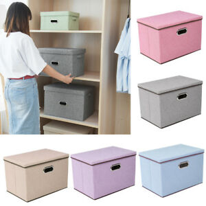 Image Is Loading Foldable Fabric Storage Box With Lid Drawer Toys